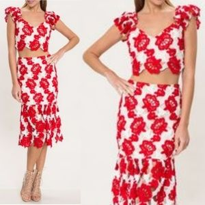 L'atiste by Amy Lace skirt set ruffle top red NEW
